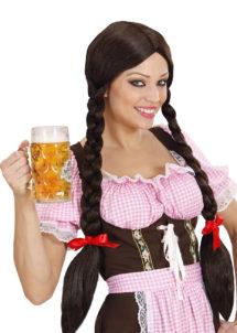 perruque bavaroise, perruque oktoberfest, perruque femme tresses noires, perruque nattes noires femme, Perruque de Bavaroise, Gretel, Noire, Tresses