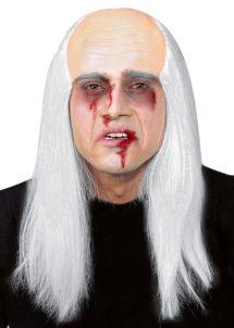 perruque homme, perruque blanche, perruque de zombie, perruque avec faux crâne, Perruque de Zombie avec Faux Crâne