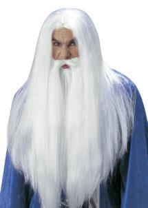 perruque merlin, perruque et barbe blanche, perruque druide, perruques hommes, perruque de magicien, Perruque + Barbe, Druide Merlin, Blanche