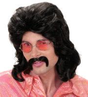 perruque mullet, perruque mulet, perruque homme, perruque disco, perruque années 80 homme, perruque noire homme Perruque 70's Man Disco, Noire