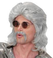 perruque mullet, perruque mulet, perruque homme, perruque disco, perruque années 80 homme, perruque grise homme Perruque 70's Man Disco, Grise