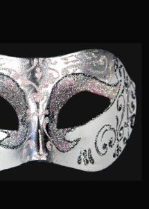 masque brillant, masque vénitien paillettes, masque vénitien, loup vénitien, masque carnaval de venise, masque vénitien fabriqué à la main, masque fait main, Vénitien, Brillante, Blanc Nacre et Argent