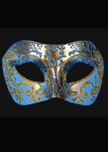 masque brillant, masque vénitien paillettes, masque vénitien, loup vénitien, masque carnaval de venise, masque vénitien fabriqué à la main, masque fait main, Vénitien, Brillante, Bleu et Or