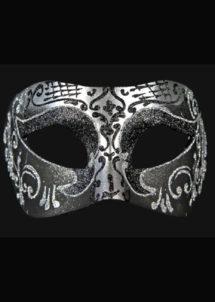 masque brillant, masque vénitien paillettes, masque vénitien, loup vénitien, masque carnaval de venise, masque vénitien fabriqué à la main, masque fait main, Vénitien, Brillante, Noir et Argent