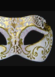 masque brillant, masque vénitien paillettes, masque vénitien, loup vénitien, masque carnaval de venise, masque vénitien fabriqué à la main, masque fait main, Vénitien, Brillante, Or et Blanc Nacre