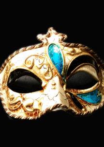 masque vénitien, loup vénitien, masque carnaval de venise, masque vénitien fait à la main, Vénitien, Civette Kré à Pointe, Bleu