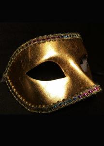 masque vénitien, loup vénitien, masque carnaval de venise, masque vénitien fait à la main, Vénitien, Civette Monochrome Galon, Or