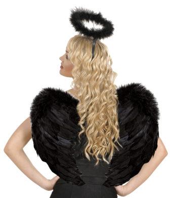 ailes de déguisement, ailes pour se déguiser, ailes d'anges noires, ailes d'ange noir, ailes en plumes, ailes noires, accessoire halloween, ailes de démon Ailes d'Ange en Plumes, Plongeantes, Noires