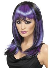 perruque pour femme, acheter perruque femme à paris, perruque de déguisement, perruque pas cher, perruque mi longue, perruque noire et violette, perruque halloween Perruque Sorcière Glamour, Violette
