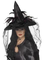 chapeau de sorcière, chapeaux de sorcières, chapeaux halloween, accessoires déguisements de sorcière Chapeau de Sorcière, Plumes et Spiders