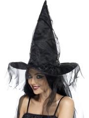 chapeau de sorcière, chapeaux de sorcières, chapeaux halloween, accessoires déguisements de sorcière Chapeau de Sorcière, Tulle Noir