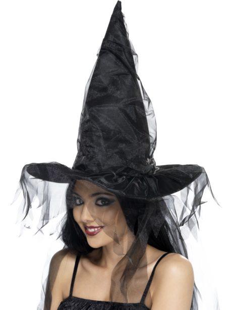 chapeau de sorcière, chapeaux de sorcières, chapeaux halloween, accessoires déguisements de sorcière, Chapeau de Sorcière, Tulle Noir