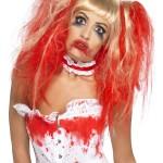perruque femme, perruque pas cher paris, perruque halloween, perruque sanglante, perruque blonde ensanglantée Perruque Blonde Ensanglantée