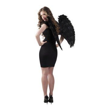 ailes de déguisement, ailes pour se déguiser, ailes d'anges noires, ailes d'ange noir, ailes en plumes, ailes noires, accessoire halloween, ailes de démon Ailes d'Ange, Plumes Noires, 65 cm
