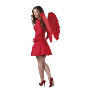 ailes de déguisement, ailes pour se déguiser, ailes d'anges rouges, ailes d'ange rouge, ailes en plumes, ailes rouges,accessoire halloween, ailes de démon Ailes d'Ange, Plumes Rouges, 65 cm