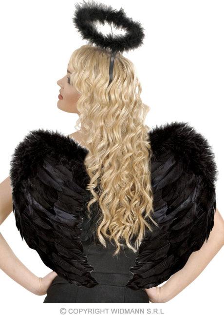 ailes de déguisement, ailes pour se déguiser, ailes d'anges noires, ailes d'ange noir, ailes en plumes, ailes noires, accessoire halloween, ailes de démon, Ailes d'Ange en Plumes, Plongeantes, Noires