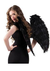 ailes de déguisement, ailes pour se déguiser, ailes d'anges noires, ailes d'ange noir, ailes en plumes, ailes noires, accessoire halloween, ailes de démon, Ailes d'Ange, Plumes Noires, 65 cm