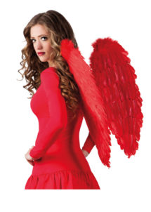 ailes de déguisement, ailes pour se déguiser, ailes d'anges rouges, ailes d'ange rouge, ailes en plumes, ailes rouges,accessoire halloween, ailes de démon, Ailes d'Ange, Plumes Rouges, 65 cm