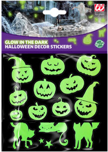 autocollants halloween, stickers Halloween, décorations halloween, Autocollants Citrouilles et Chats Phosphorescents