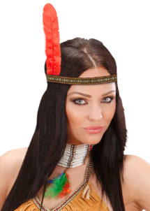 bandeau plume d'indien, accessoire déguisement indienne, bandeau indien à plume, accessoire déguisement, déguisement d'indien, déguisement d'indienne, plumes d'indien, coiffe indienne, Bandeau d'Indien à Plume Rouge