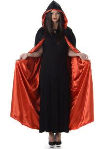 cape noire et rouge, cape halloween, cape capuche, cape vampire, Cape Noire et Rouge, Large Capuche