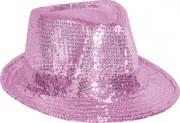 chapeaux borsalino, chapeaux paillettes, chapeau à sequins, chapeaux roses, chapeaux paris, chapeaux forme année 30 Chapeau Borsalino Paillettes Sequins, Rose