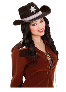 chapeau de cowboy, chapeaux de cowboy, chapeaux de cow boy, accessoires déguisements cowboys, Chapeau de Cowboy, Etoile et Liseré