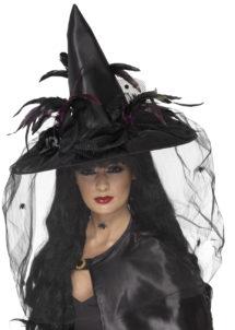 chapeau de sorcière, chapeaux de sorcières, chapeaux halloween, accessoires déguisements de sorcière, Chapeau de Sorcière, Plumes et Spiders