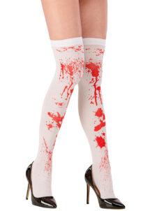 bas blancs ensanglantés, bas déguisement, bas halloween, accessoire déguisement, collant déguisement, accessoires halloween, bas faux sang, Bas Blancs, Ensanglantés