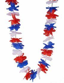 collier france, collier bleu blanc rouge, accessoires coupe du monde 2018, accessoires de supporter, boutique supporter, mondial 2018, Collier de Fleurs Bleu Blanc Rouge, Supporter France
