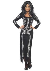 déguisement robe squelette,déguisement squelette femme, déguisement halloween femme, costume halloween adulte, costume halloween squelette, costume squelette femme, déguisement squelette femme, Déguisement Squelette, Robe Imprimée