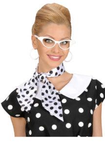 foulard à pois années 50, foulard années 60, accessoire années 50, foulard satin, foulard à pois noirs et blancs, Foulard à Pois, Blanc et Noir
