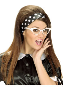 foulard à pois années 50, foulard années 60, accessoire années 50, foulard satin, foulard à pois noirs et blancs, Foulard à Pois, Noir et Blanc