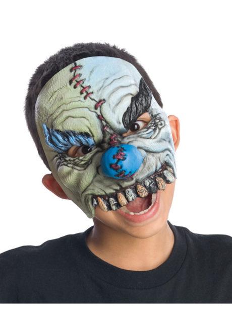 masque halloween, masque clown halloween, accessoire masque clown horreur, masque latex déguisement, masque clown diabolique, masque clown halloween, masque clown maléfique, Demi Masque de Clown Sinistre, Latex