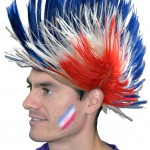 perruque France, accessoires euro 2016, boutique supporter, perruque bleu blanc rouge, perruque de supporter, euro 2016 Perruque de Supporter France, Punk bleu blanc rouge