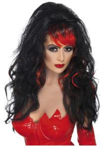 perruque diable pour femme, perruque Halloween femme, perruque noire femme, perruque vampire, Perruque Séductrice, Noire et Rouge