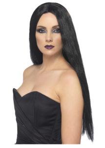 perruque noire, perruque sorcière, perruque cheveux longs noirs, perruque noire femme, Perruque de Sorcière, Noire