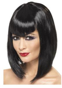 perruque noire, perruque carré noir, perruque femme carré noir, perruque femme noire, Perruque Vamp, Noire