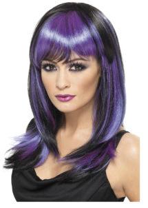 perruque noire et violette, perruque halloween femme, perruque sexy femme, perruque sorcière femme, Perruque Sorcière Glamour, Violette