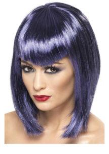 perruque violette, perruque carré violet, perruque coupe carré, perruque couleur femme, Perruque Vamp, Violette