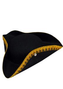 tricorne à galon, chapeau tricorne, chapeaux tricornes, Chapeau Tricorne Noir Galon Or