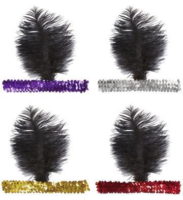 bandeau charleston, bandeau à plumes, accessoire déguisement, accessoire années 30, accessoire cabaret, bandeau charleston, bandeau années 30, bandeau années 20, déguisement charleston, accessoire déguisement charleston Bandeau Charleston à Plume Noire