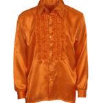 chemise disco homme, déguisement disco homme, costume disco homme, chemise années 80 homme, déguisement années 80 homme, chemise à jabot déguisement, chemise disco orange Déguisement Disco, Chemise Jabot Orange