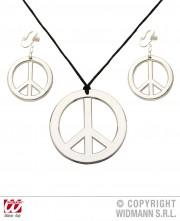 collier hippie déguisement, collier hippie et boucles d'oreilles hippies, collier peace and love, accessoires déguisement hippie, accessoires hippie, collier déguisement hippie, collier déguisement années 70 Collier Hippie et Boucles d'Oreilles, Argent