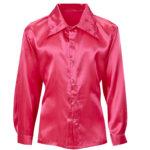chemise disco satin, chemise disco déguisement, déguisement disco homme, chemise disco pour homme, accessoire disco déguisement homme, chemise rose Déguisement Disco, Chemise Satin Rose