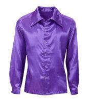 chemise disco satin, chemise disco déguisement, déguisement disco homme, chemise disco pour homme, accessoire disco déguisement homme, chemise violette Déguisement Disco, Chemise Satin Violette