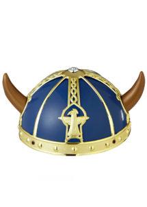 casque de viking, coiffe de viking, accessoires déguisements viking, Casque de Viking, Bleu et Or