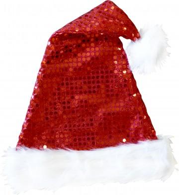 bonnet de noel à sequins Bonnet de Père Noël, à Sequins et Fourrure
