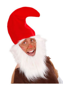 Bonnet de lutin avec barbe, chapeau de nain, chapeaux avec barbe, accessoires déguisement de nain, Chapeau de Lutin avec Barbe