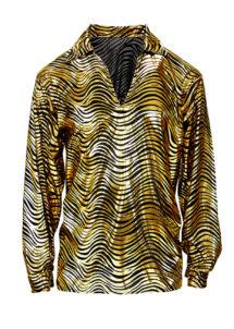 chemise disco fever, chemise disco homme, costume disco homme, déguisement disco homme, accessoire disco déguisement, chemise argent homme, chemise dorée homme, chemise années 70 homme, déguisement années 70 homme, costume années 70 homme, Chemise Disco, Fever Or